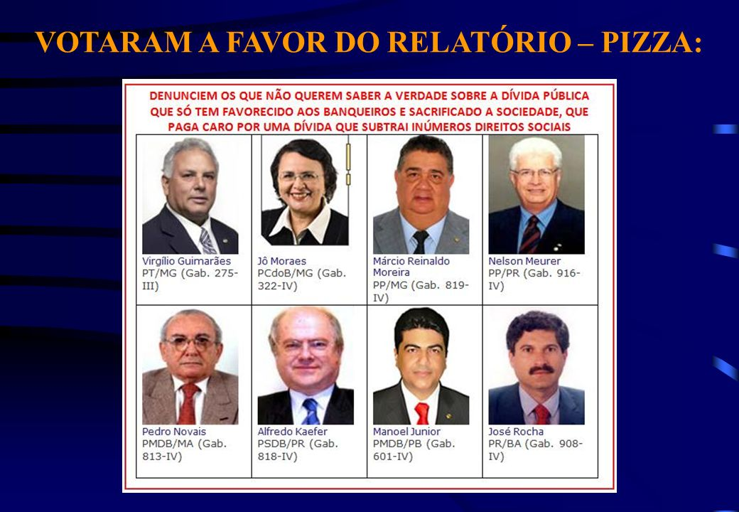 VOTARAM A FAVOR DO RELATÓRIO – PIZZA: