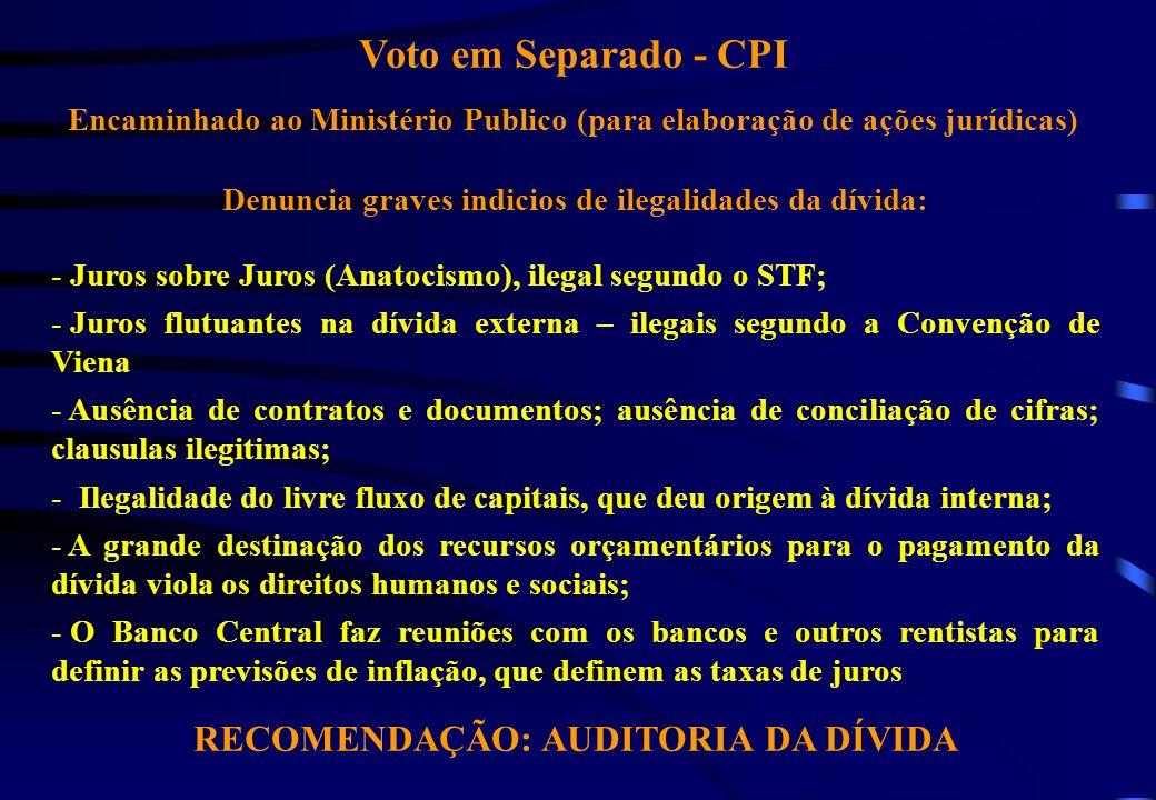 Voto em Separado - CPI RECOMENDAÇÃO: AUDITORIA DA DÍVIDA