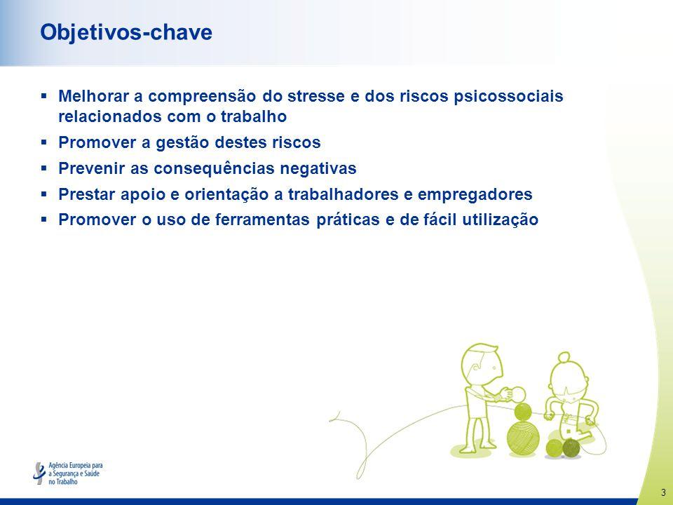 Objetivos-chave Melhorar a compreensão do stresse e dos riscos psicossociais relacionados com o trabalho.