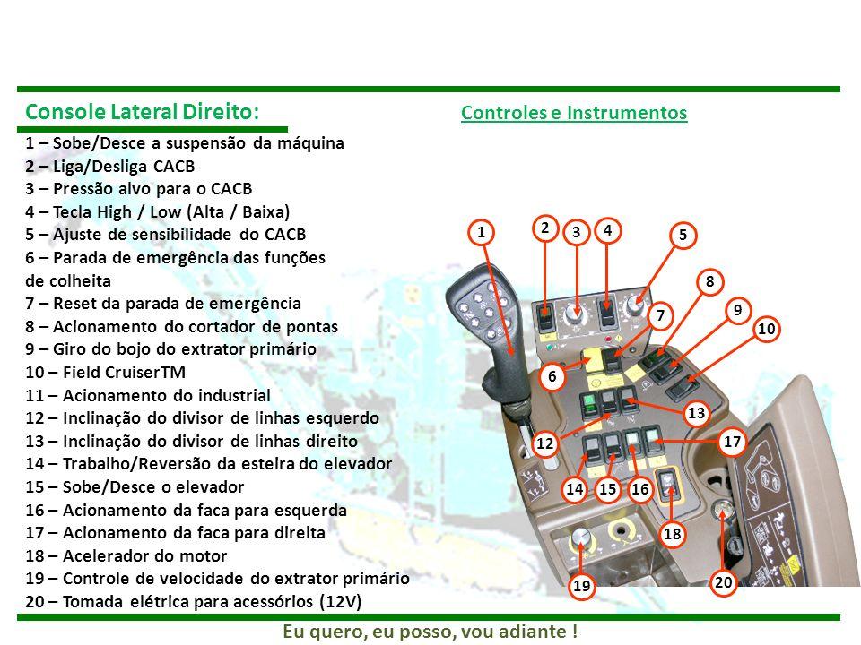 Console Lateral Direito: Controles e Instrumentos