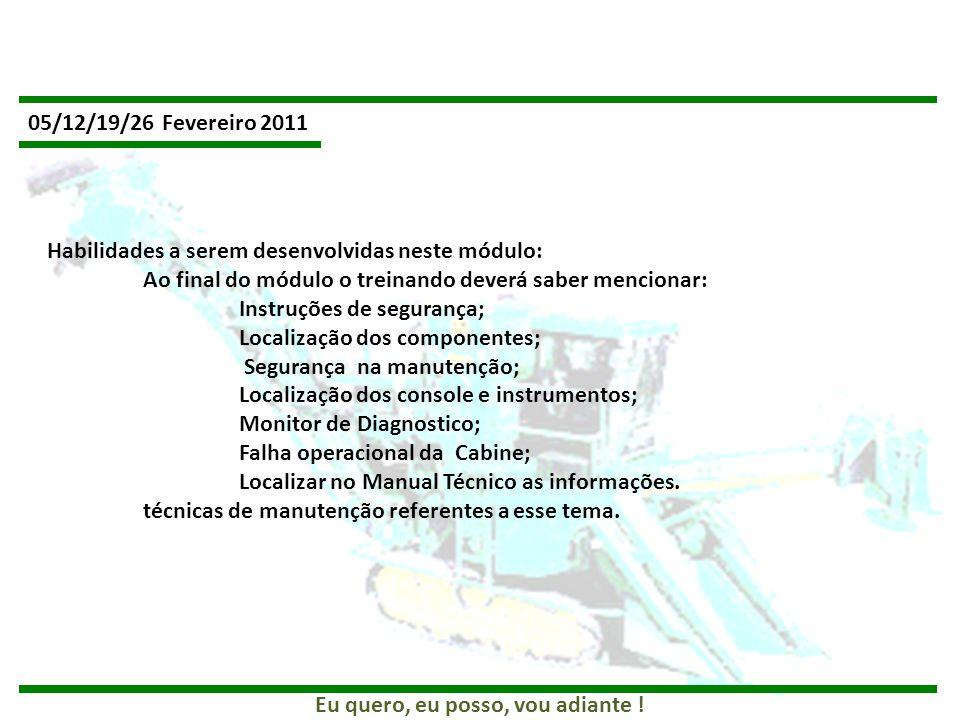 05/12/19/26 Fevereiro 2011 Habilidades a serem desenvolvidas neste módulo: Ao final do módulo o treinando deverá saber mencionar: