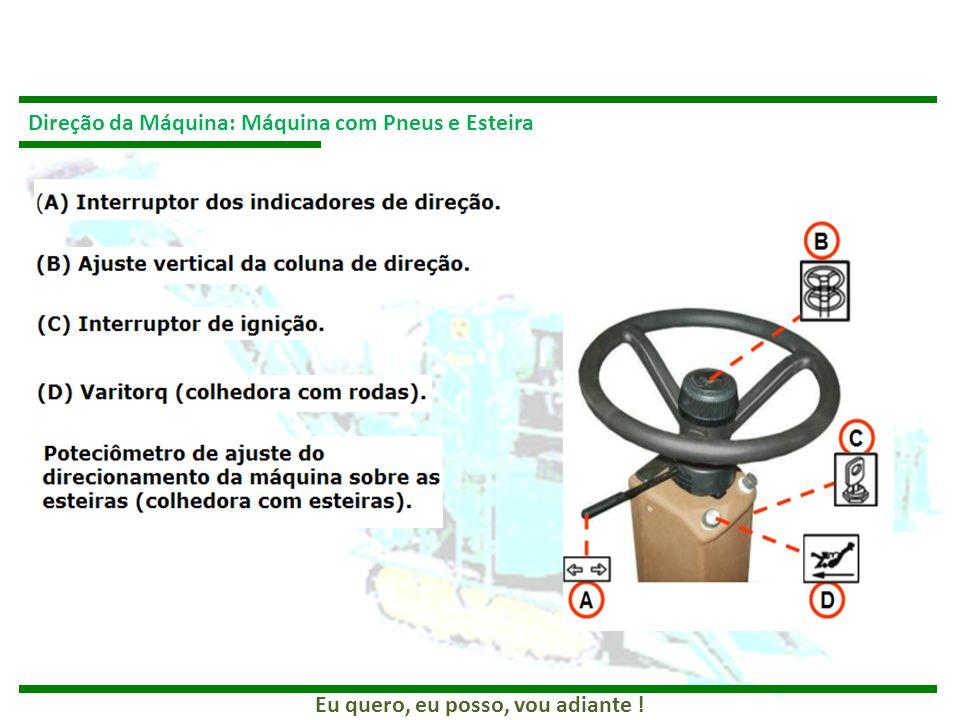 Direção da Máquina: Máquina com Pneus e Esteira
