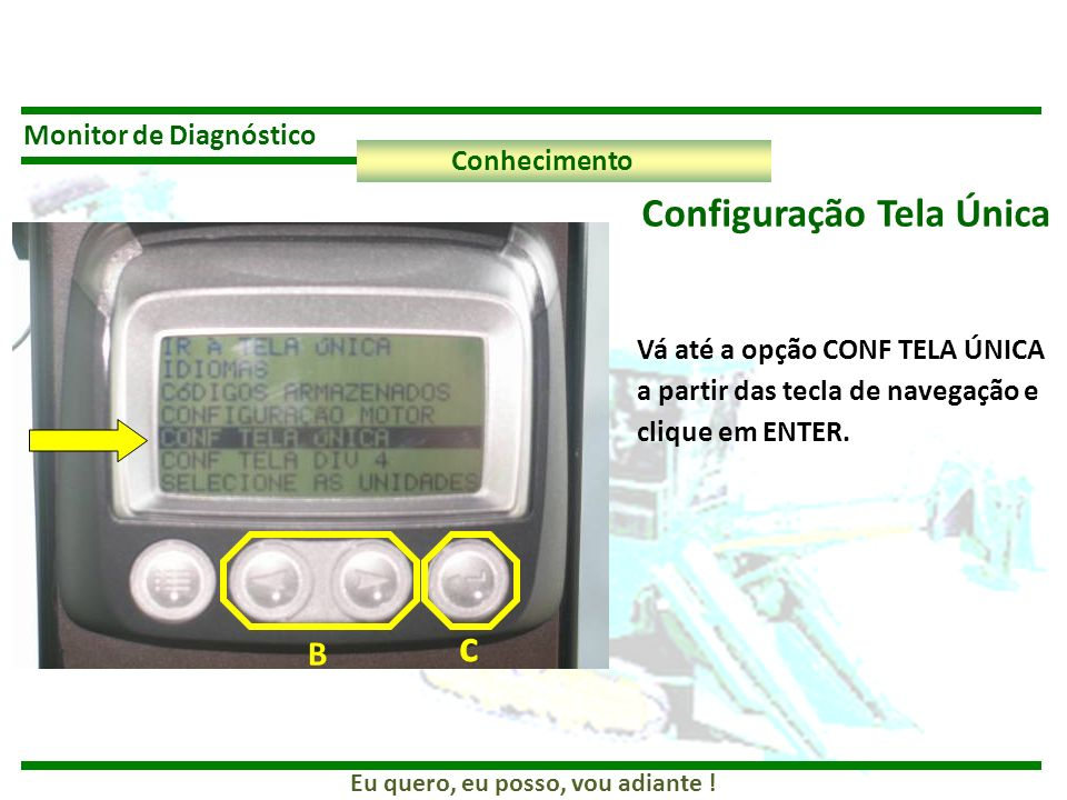 c Configuração Tela Única B Monitor de Diagnóstico Conhecimento