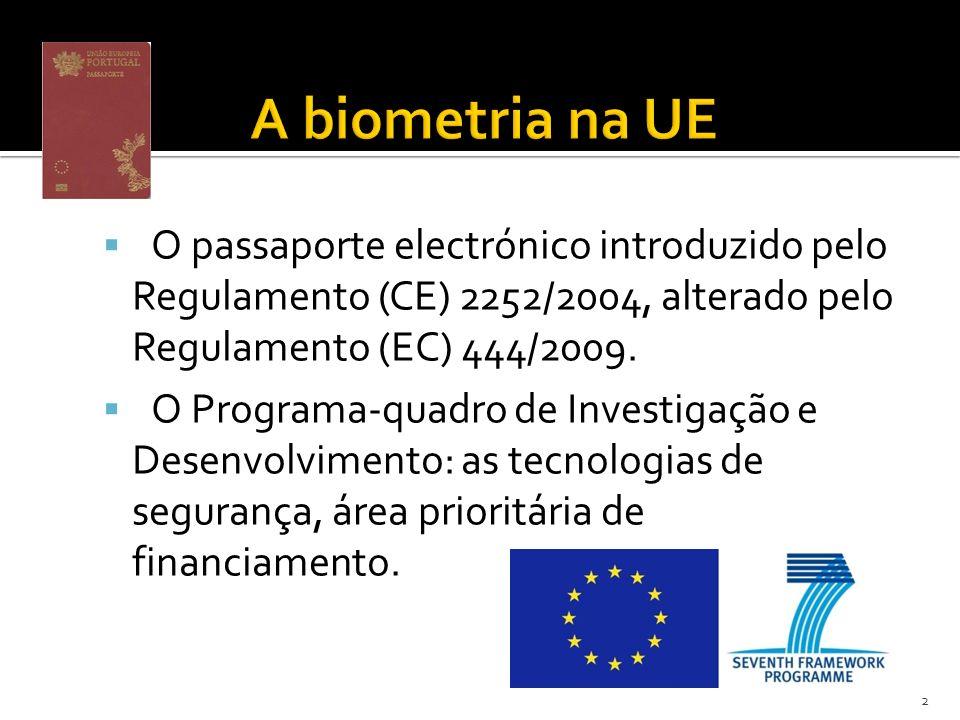 A biometria na UE O passaporte electrónico introduzido pelo Regulamento (CE) 2252/2004, alterado pelo Regulamento (EC) 444/2009.