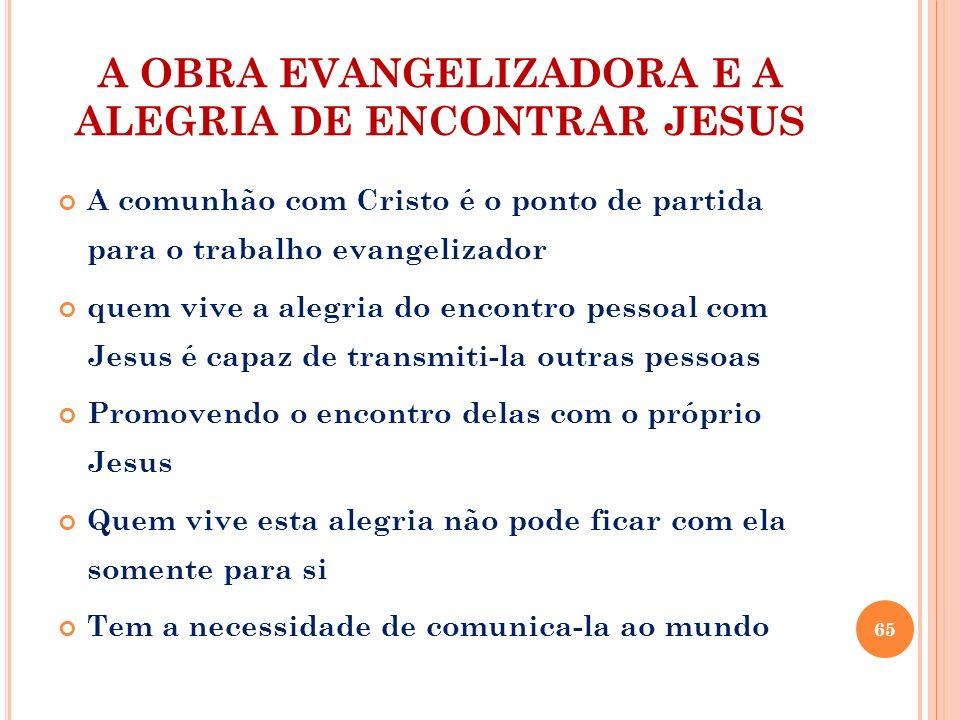 A OBRA EVANGELIZADORA E A ALEGRIA DE ENCONTRAR JESUS