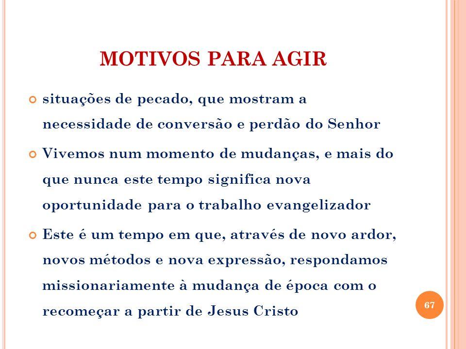 MOTIVOS PARA AGIR situações de pecado, que mostram a necessidade de conversão e perdão do Senhor.