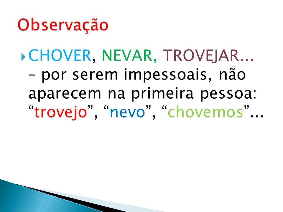 Observação CHOVER, NEVAR, TROVEJAR...