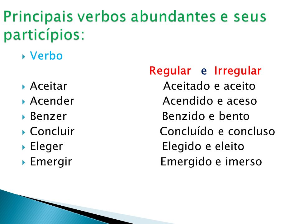 Principais verbos abundantes e seus particípios: