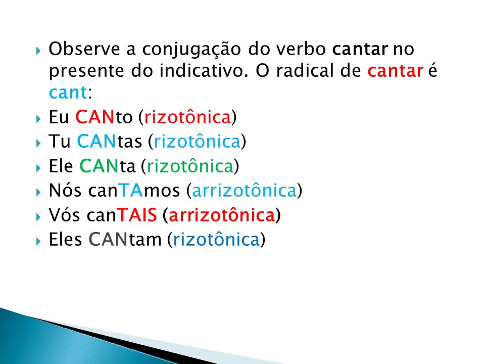 Observe a conjugação do verbo cantar no presente do indicativo