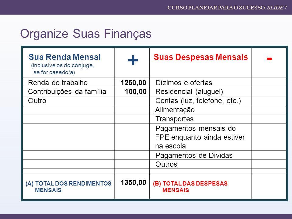 + - Organize Suas Finanças Sua Renda Mensal Suas Despesas Mensais
