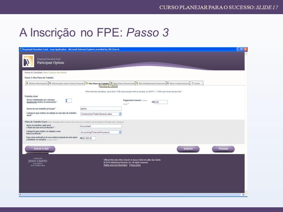 A Inscrição no FPE: Passo 3