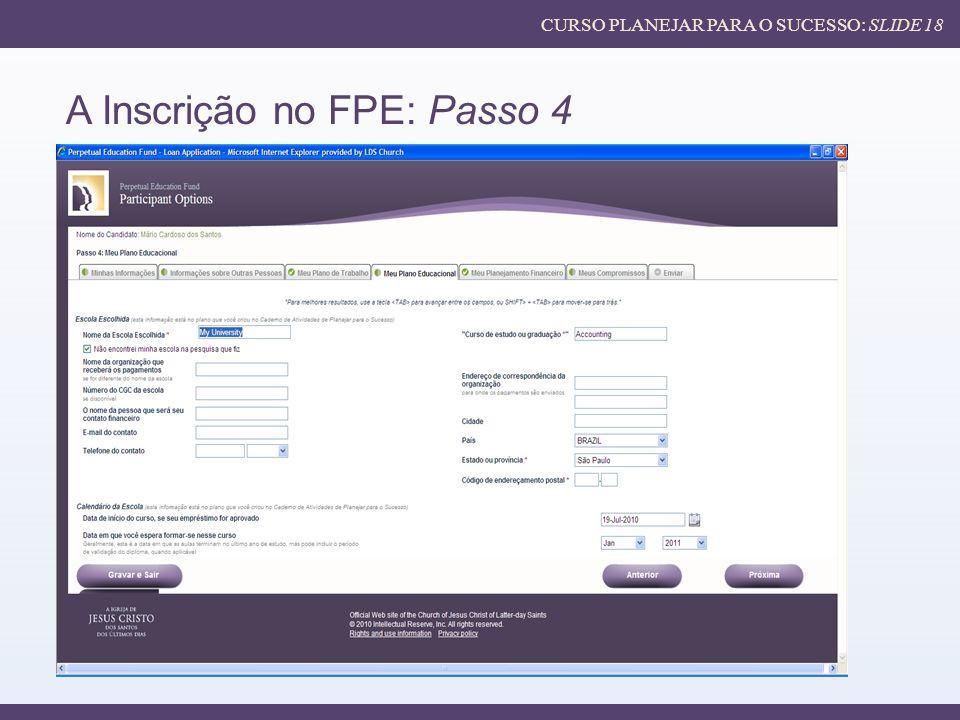 A Inscrição no FPE: Passo 4