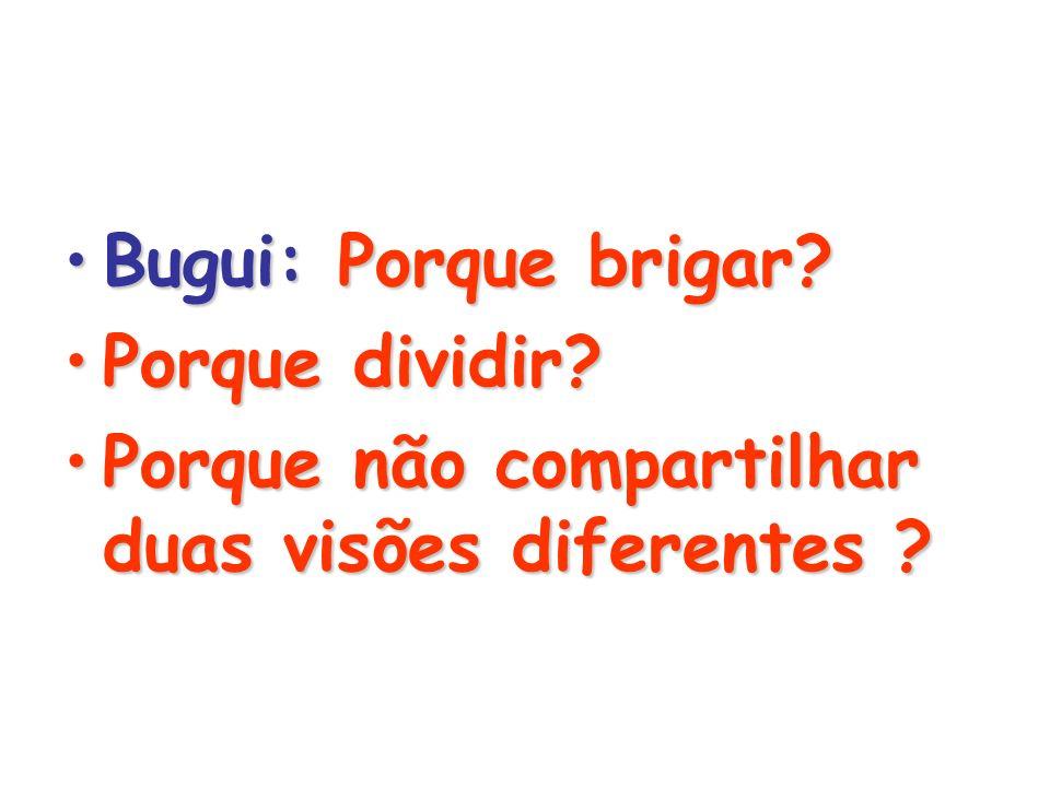 Bugui: Porque brigar Porque dividir Porque não compartilhar duas visões diferentes