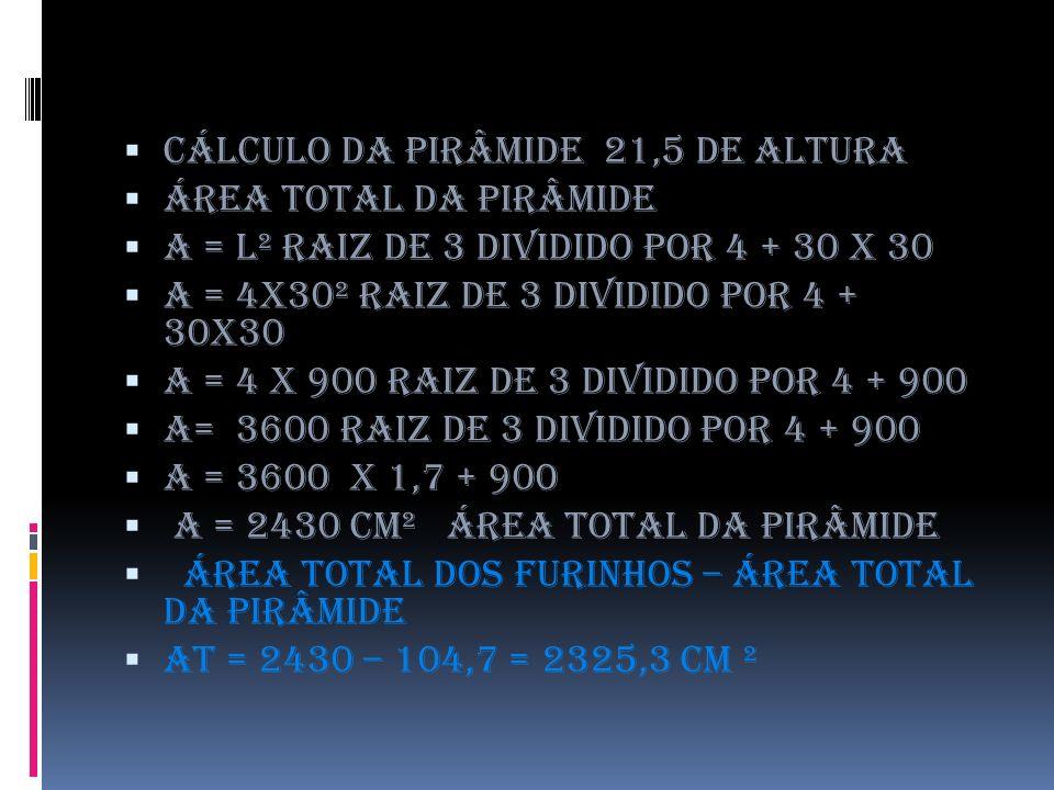 Cálculo da pirâmide 21,5 de altura