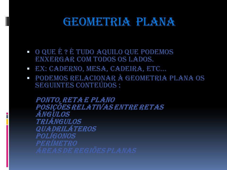 Geometria plana O que é É tudo aquilo que podemos enxergar com todos os lados. EX: Caderno, mesa, cadeira, etc...