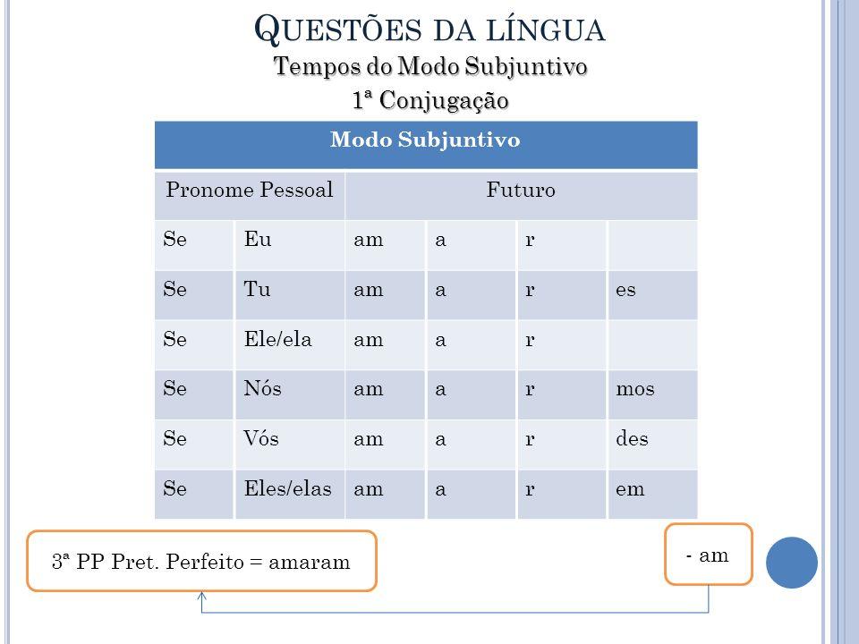 Questões da língua Tempos do Modo Subjuntivo 1ª Conjugação
