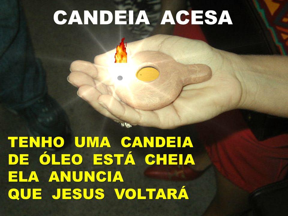 CANDEIA ACESA TENHO UMA CANDEIA DE ÓLEO ESTÁ CHEIA ELA ANUNCIA