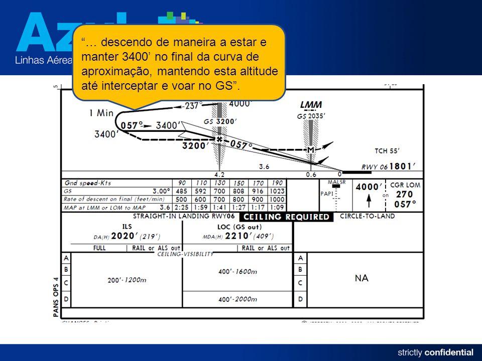 … descendo de maneira a estar e manter 3400' no final da curva de aproximação, mantendo esta altitude até interceptar e voar no GS .