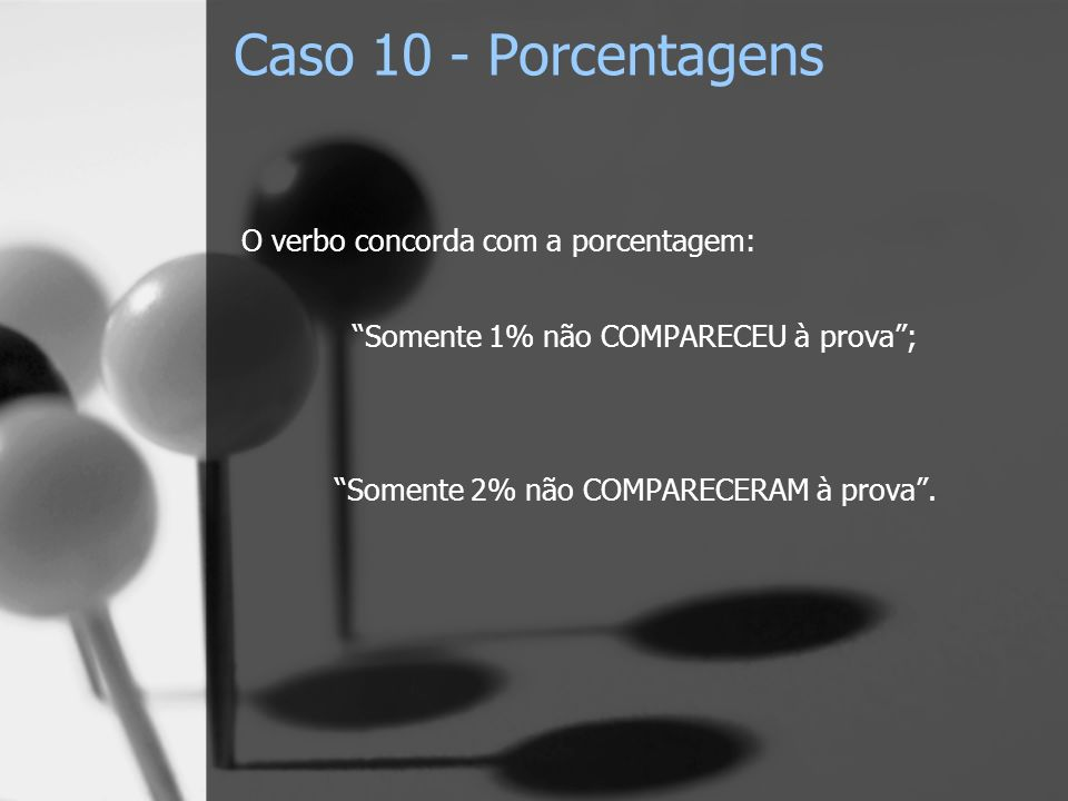 Caso 10 - Porcentagens O verbo concorda com a porcentagem: