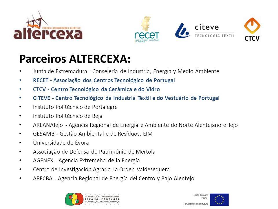 Parceiros ALTERCEXA: Junta de Extremadura - Consejería de Industria, Energía y Medio Ambiente.