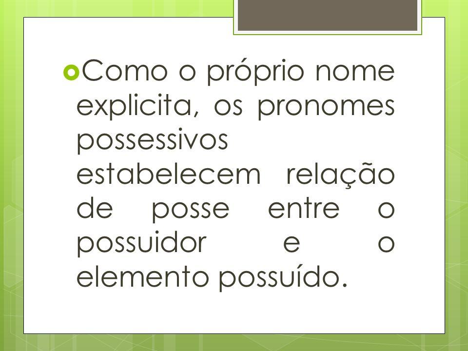 Como o próprio nome explicita, os pronomes possessivos estabelecem relação de posse entre o possuidor e o elemento possuído.
