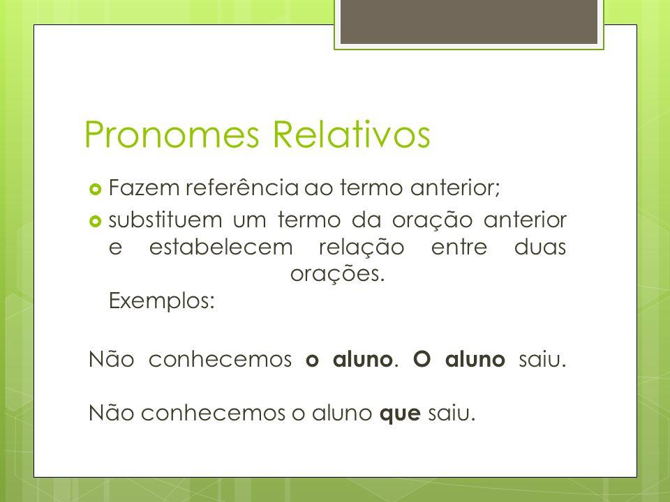 Pronomes Relativos Fazem referência ao termo anterior;