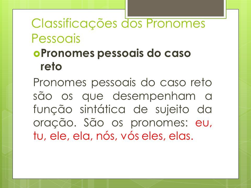 Classificações dos Pronomes Pessoais