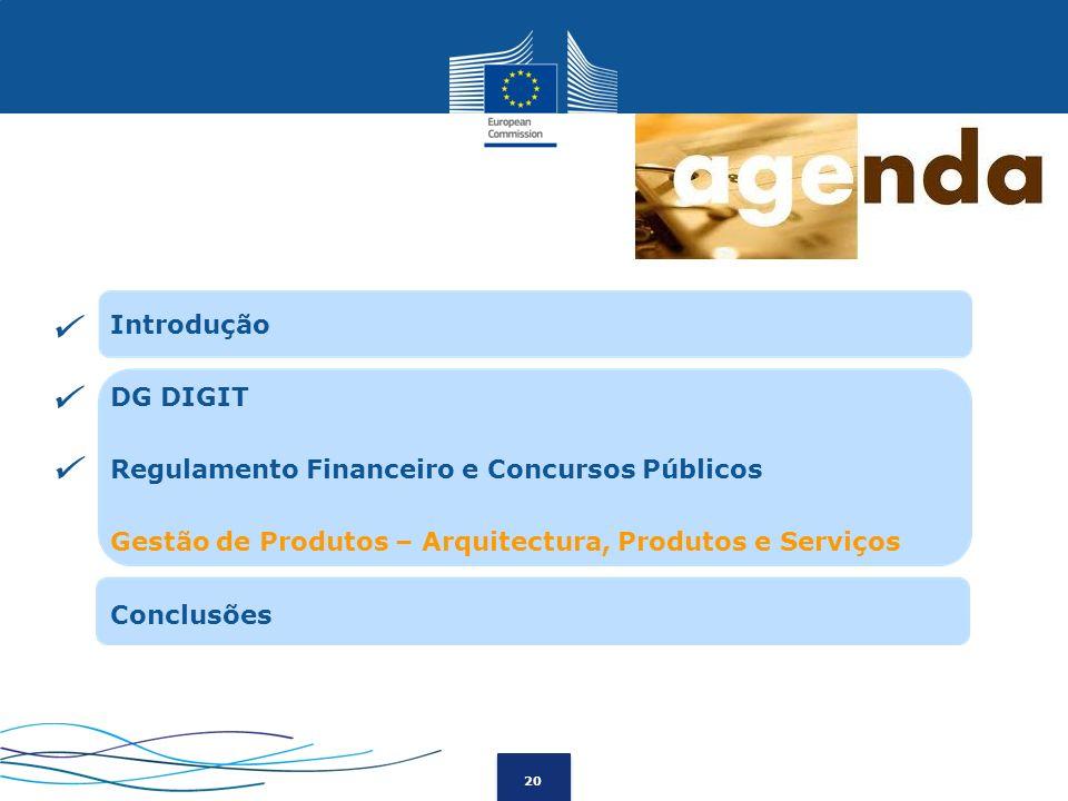  Introdução DG DIGIT Regulamento Financeiro e Concursos Públicos Gestão de Produtos – Arquitectura, Produtos e Serviços Conclusões