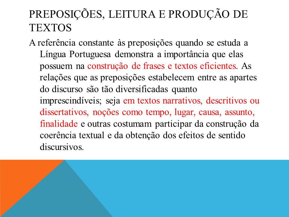 Preposições, leitura e produção de textos
