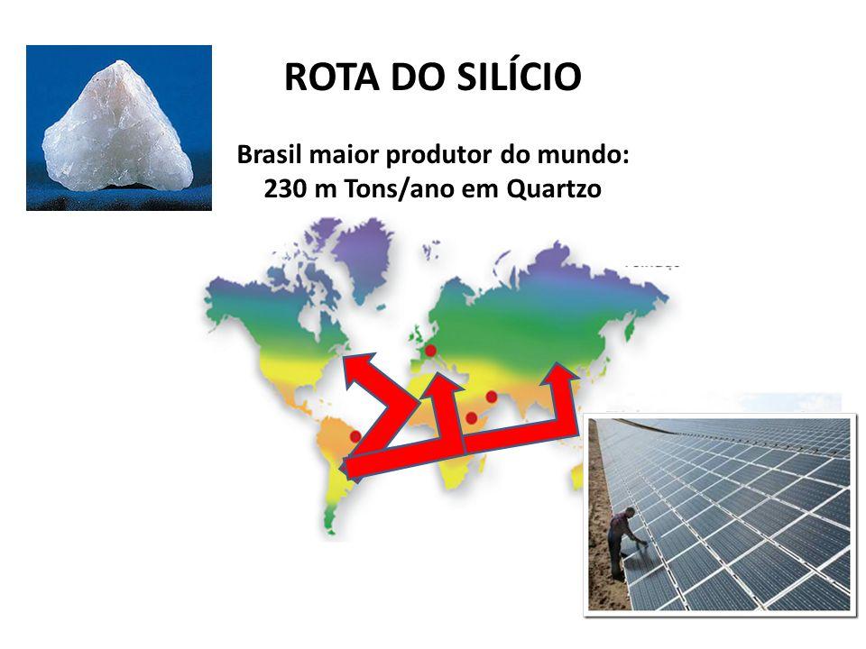 Brasil maior produtor do mundo: 230 m Tons/ano em Quartzo