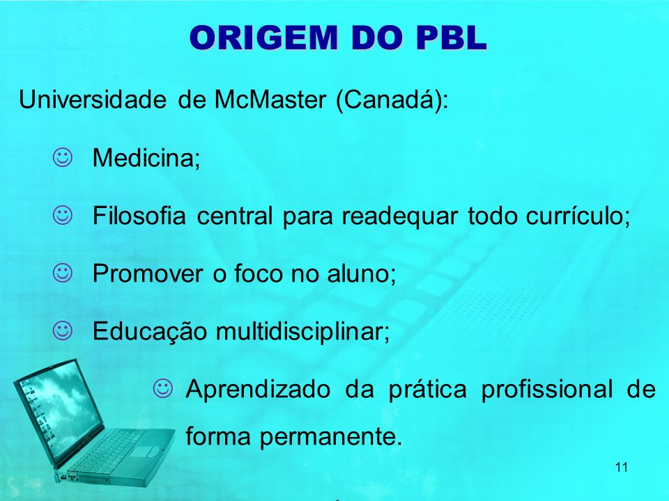 ORIGEM DO PBL Universidade de McMaster (Canadá): Medicina;