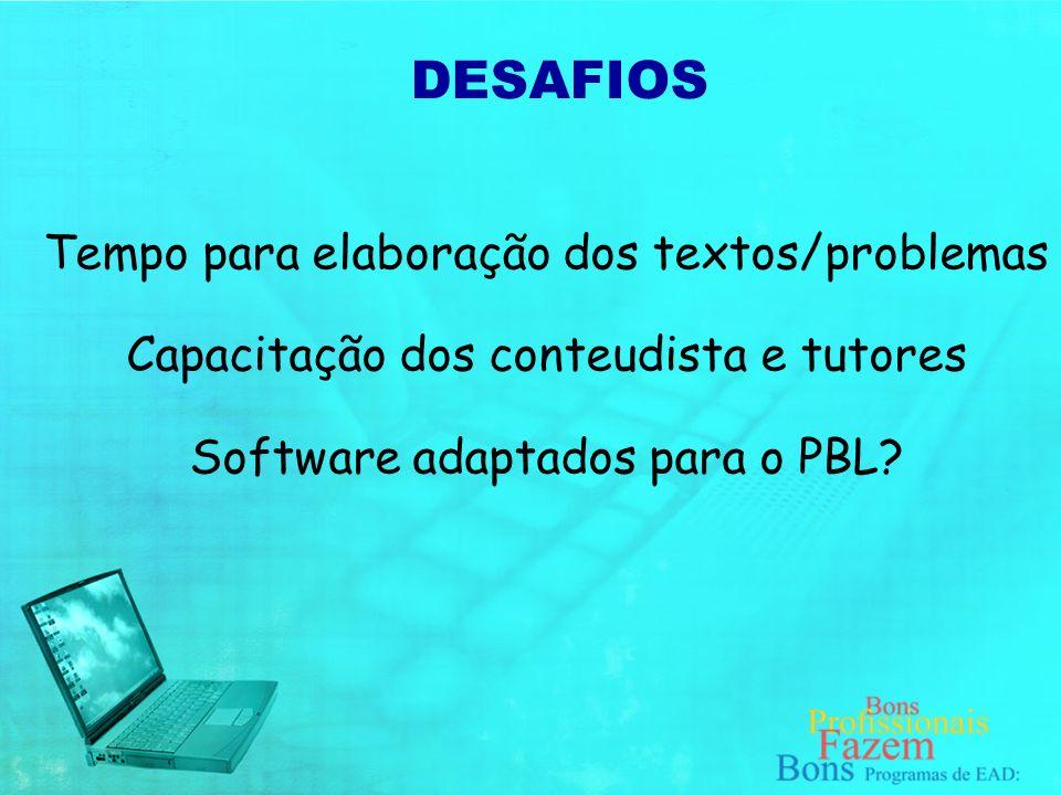 DESAFIOS Tempo para elaboração dos textos/problemas