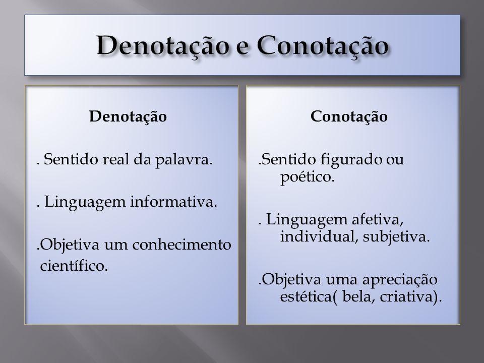 Denotação e Conotação Denotação . Sentido real da palavra. . Linguagem informativa. .Objetiva um conhecimento científico.