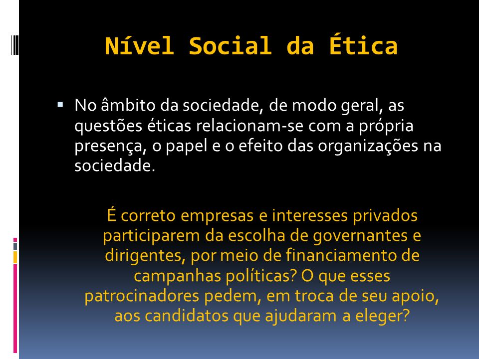Nível Social da Ética