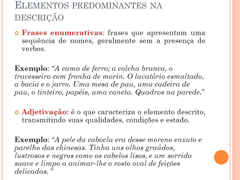 Elementos predominantes na descrição