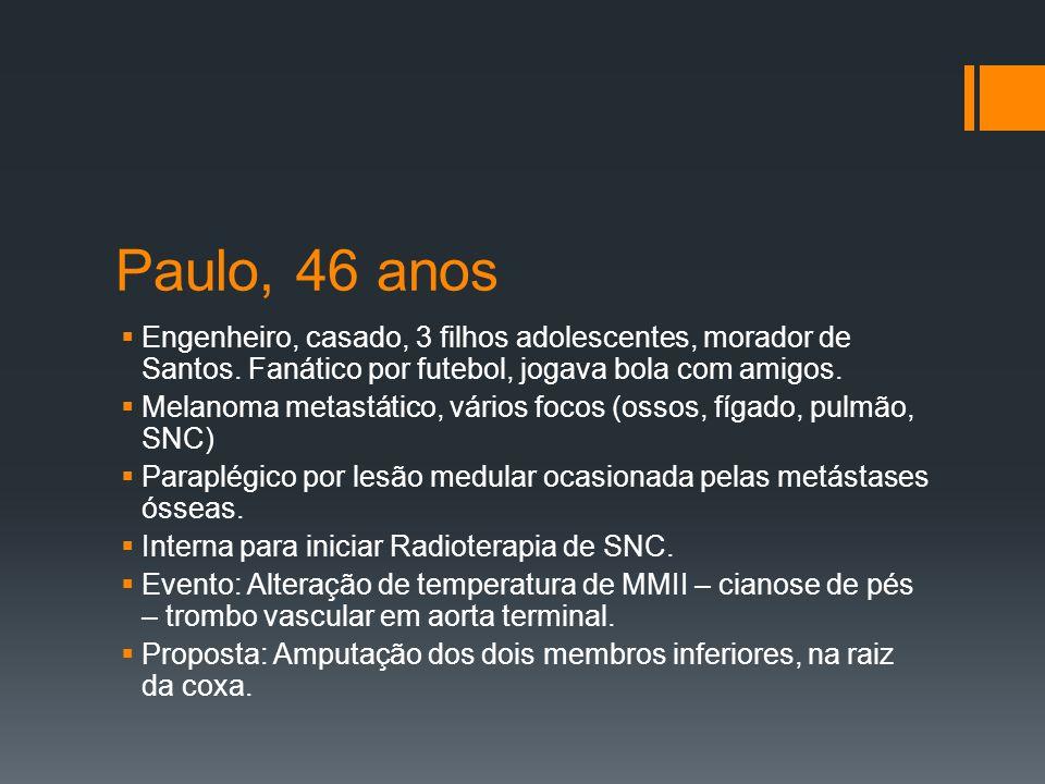 Paulo, 46 anos Engenheiro, casado, 3 filhos adolescentes, morador de Santos. Fanático por futebol, jogava bola com amigos.