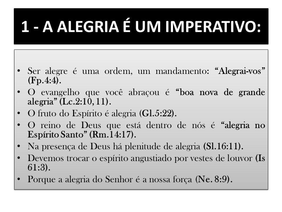 1 - A ALEGRIA É UM IMPERATIVO: