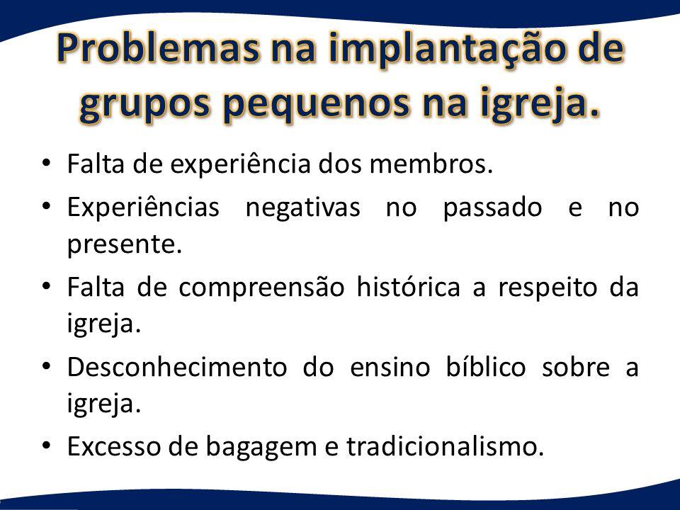 Problemas na implantação de grupos pequenos na igreja.