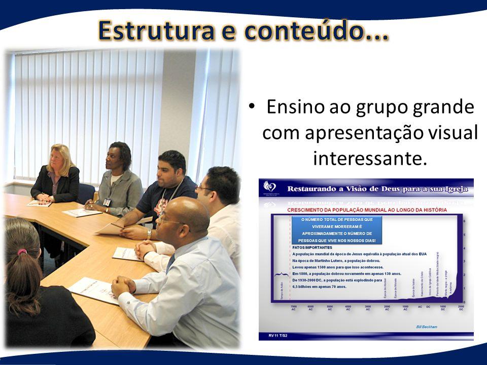 Ensino ao grupo grande com apresentação visual interessante.