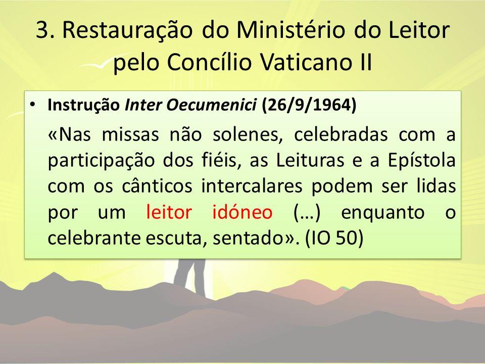 3. Restauração do Ministério do Leitor pelo Concílio Vaticano II