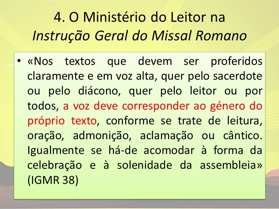 4. O Ministério do Leitor na Instrução Geral do Missal Romano