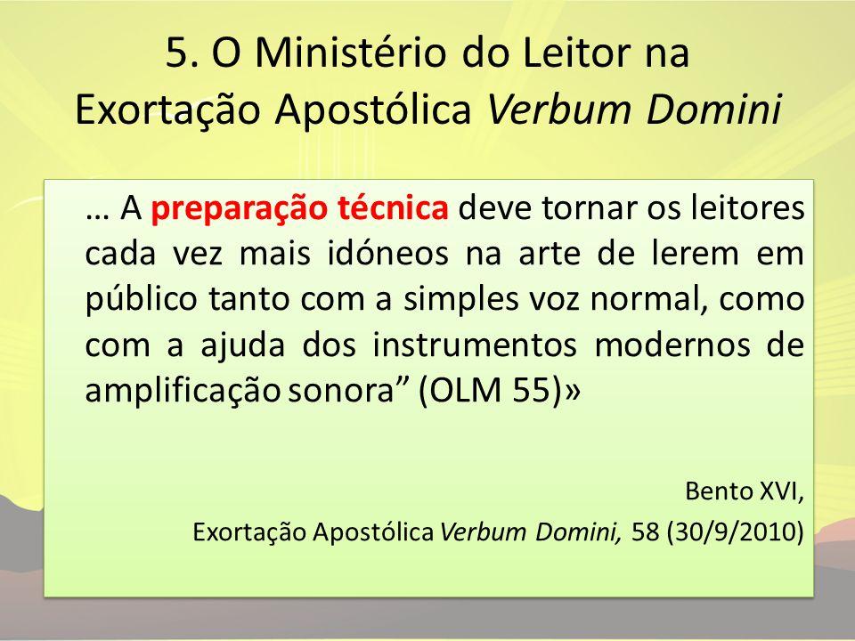 5. O Ministério do Leitor na Exortação Apostólica Verbum Domini