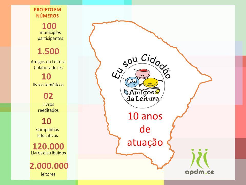 PROJETO EM NÚMEROS 100. municípios participantes. 1.500. Amigos da Leitura Colaboradores. 10. livros temáticos.
