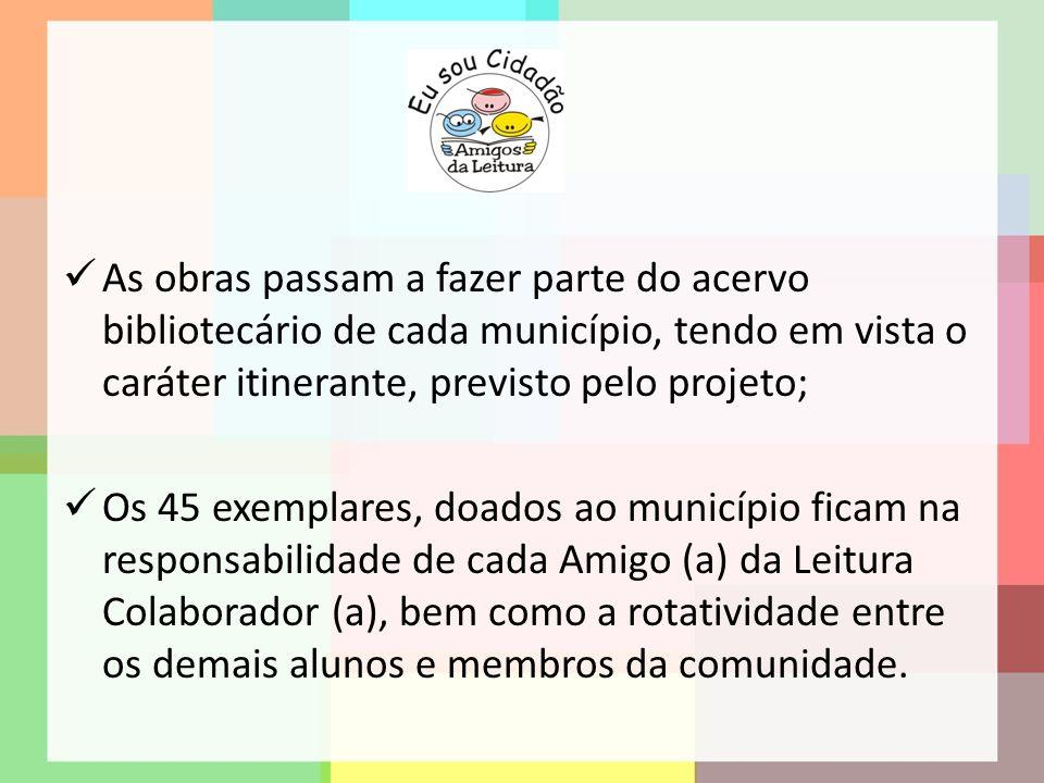 As obras passam a fazer parte do acervo bibliotecário de cada município, tendo em vista o caráter itinerante, previsto pelo projeto;