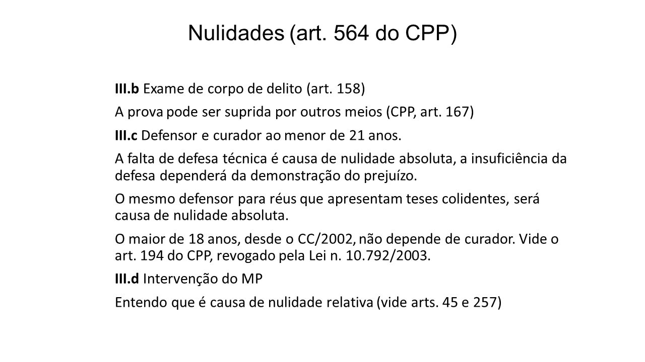 Nulidades (art. 564 do CPP)
