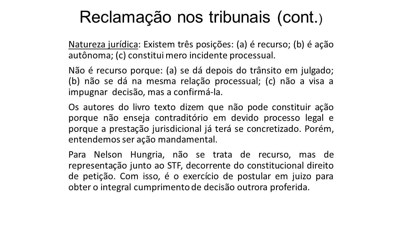 Reclamação nos tribunais (cont.)