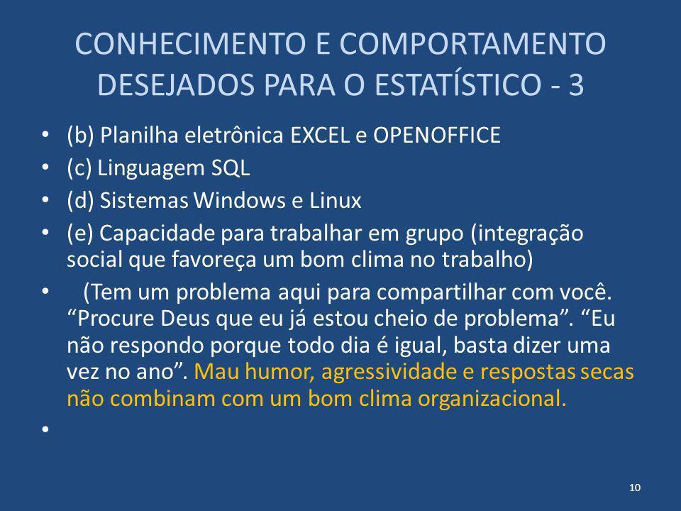CONHECIMENTO E COMPORTAMENTO DESEJADOS PARA O ESTATÍSTICO - 3