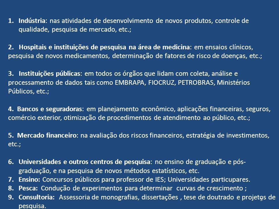 Indústria: nas atividades de desenvolvimento de novos produtos, controle de qualidade, pesquisa de mercado, etc.;
