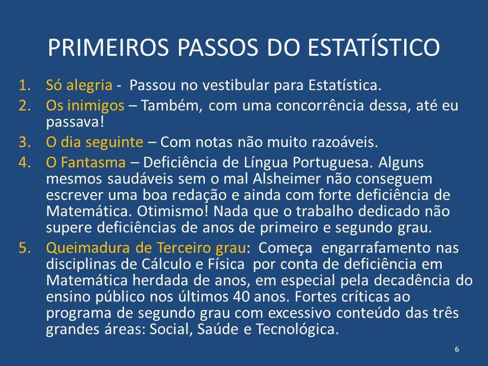 PRIMEIROS PASSOS DO ESTATÍSTICO