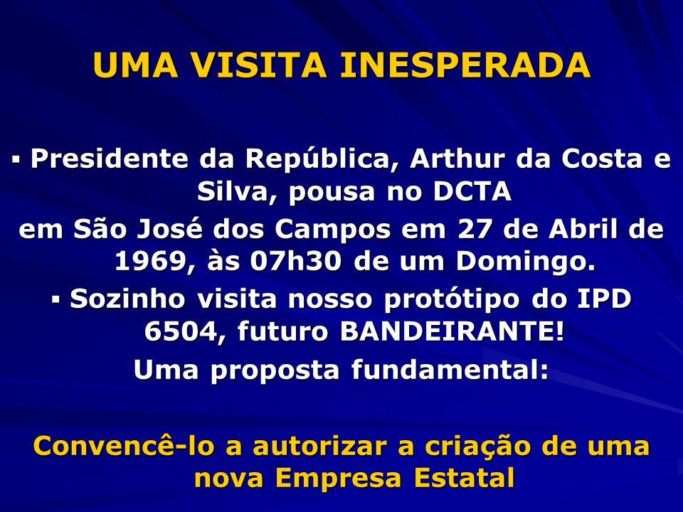UMA VISITA INESPERADA ▪ Presidente da República, Arthur da Costa e Silva, pousa no DCTA.